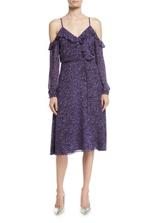 MICHAEL Michael Kors Long-Sleeve Cold-Shoulder Tweed Wrap Dress