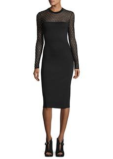Long-Sleeve Crystal-Trimmed Mesh-Yoke Sheath Dress