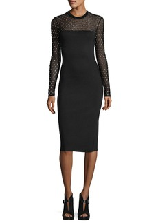 MICHAEL Michael Kors Long-Sleeve Crystal-Trimmed Mesh-Yoke Sheath Dress