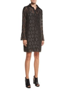 MICHAEL Michael Kors Long-Sleeve Diamond Jacquard Shirtdress
