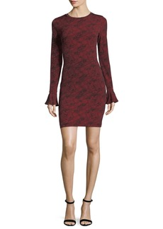 MICHAEL Michael Kors Long-Sleeve Flounce-Cuff Mesh Dress