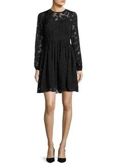 MICHAEL Michael Kors Long-Sleeve Foliage Jacquard Lace Dress