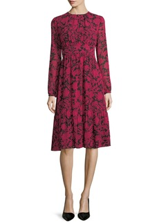 MICHAEL Michael Kors Long-Sleeve Garden-Print Tiered Dress