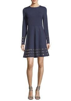 MICHAEL Michael Kors Long-Sleeve Grommet-Embellished Fit-&-Flare Dress