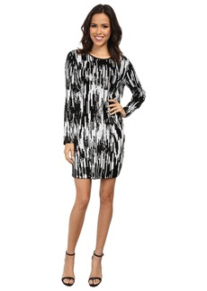 MICHAEL Michael Kors Long Sleeve Ikat Sequin Crew Neck Dress