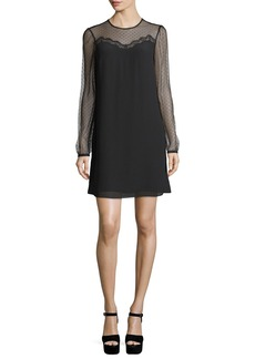 MICHAEL Michael Kors Long-Sleeve Lace-Combo Chiffon Shift Dress