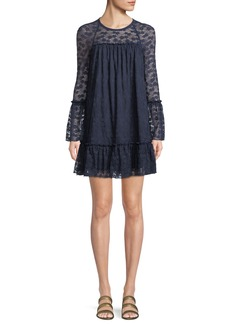 MICHAEL Michael Kors Long-Sleeve Lace Ruffle Dress