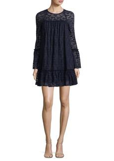 Long-Sleeve Lace Ruffle Shift Dress