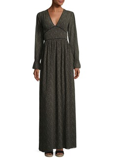 MICHAEL Michael Kors Long-Sleeve Piped V-Neck Maxi Dress