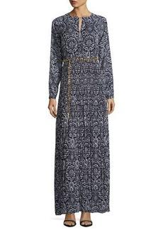 MICHAEL Michael Kors Long-Sleeve Printed Plisse Maxi Dress w/ Chain Belt