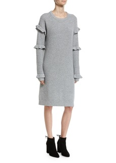 MICHAEL Michael Kors Long-Sleeve Rib-Knit Sweater Dress W/ Ruffled Trim