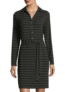 MICHAEL Michael Kors Long-Sleeve Striped Belted Shirtdress