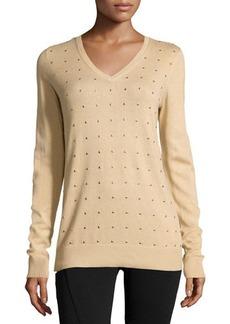 MICHAEL Michael Kors Long-Sleeve Studded Pullover Sweater