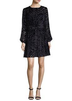Long-Sleeve Tiger Devoré Velvet Dress