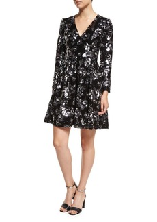 MICHAEL Michael Kors Long-Sleeve V-Neck Floral-Sequin Dress