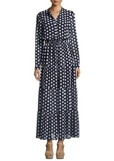 MICHAEL Michael Kors Lottie Long-Sleeve Polka-Dot Tiered Maxi Dress