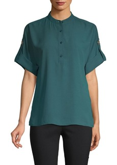 MICHAEL Michael Kors Mandarin-Collar Short-Sleeve Top