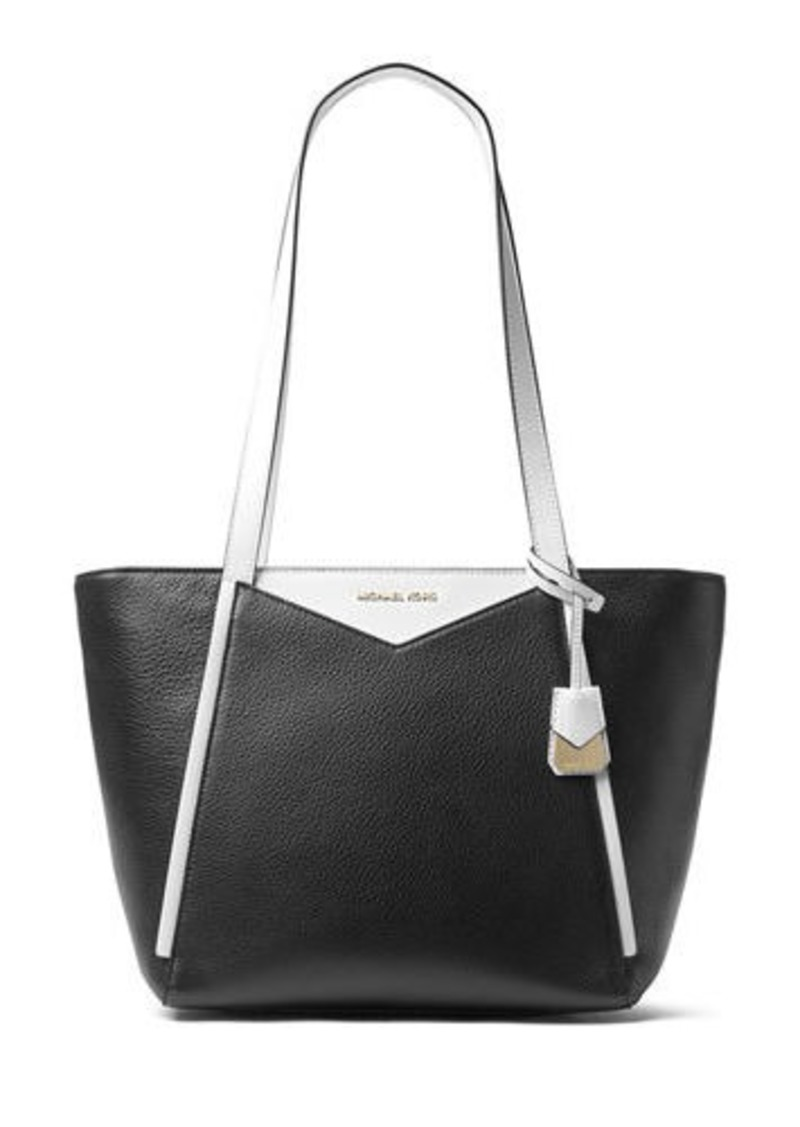 Michael Kors Mercer Two Tone Leather Shoulder Tote Bag