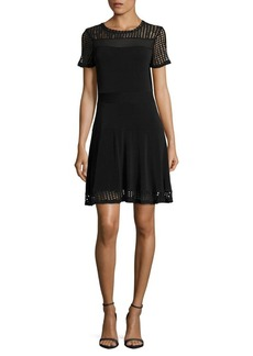 MICHAEL MICHAEL KORS Mesh Accented Roundneck Dress