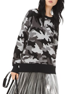 MICHAEL Michael Kors Metallic Camouflage Jacquard Sweater