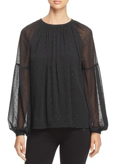 MICHAEL Michael Kors Metallic Dot Peasant Blouse
