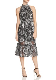 MICHAEL Michael Kors Metallic Floral-Print Midi Dress