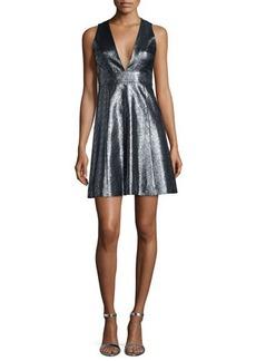 MICHAEL Michael Kors Metallic Jacquard V-Neck Fit & Flare Dress