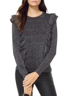 MICHAEL Michael Kors Metallic Knit Ruffled Sweater