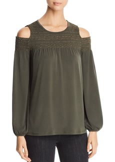 MICHAEL Michael Kors Metallic Smocked Cold-Shoulder Top