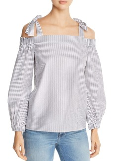 MICHAEL Michael Kors Metallic Striped Cold-Shoulder Top