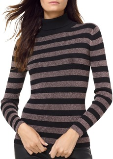 MICHAEL Michael Kors Metallic Striped Turtleneck Sweater