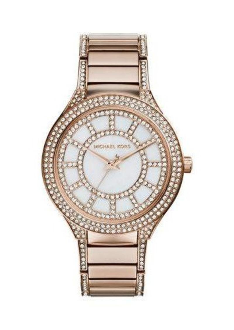 MICHAEL Michael Kors Mid-Size Rose Golden Stainless Steel Kerry Three-Hand Glitz Watch