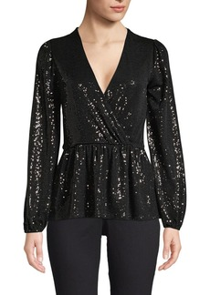 MICHAEL Michael Kors Mirror Dot Sequin Faux-Wrap Top
