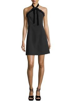 MICHAEL Michael Kors Mixed-Media Crepe Halter Dress