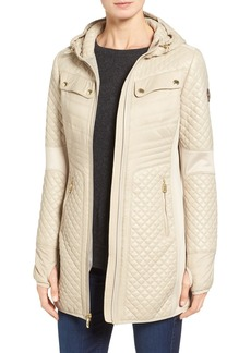 MICHAEL Michael Kors Mixed Media Hooded Zip Front Coat
