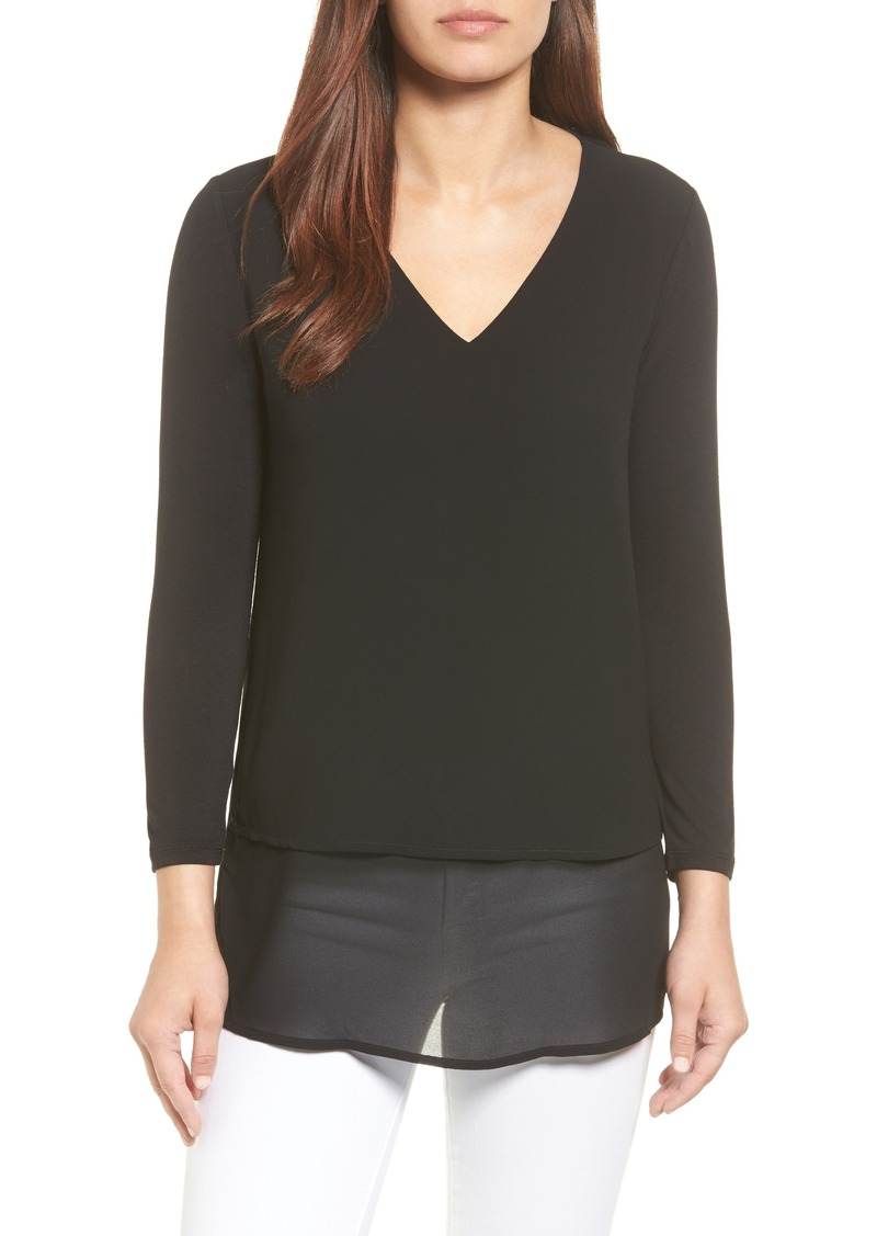 MICHAEL Michael Kors Mixed Media V-Neck Top