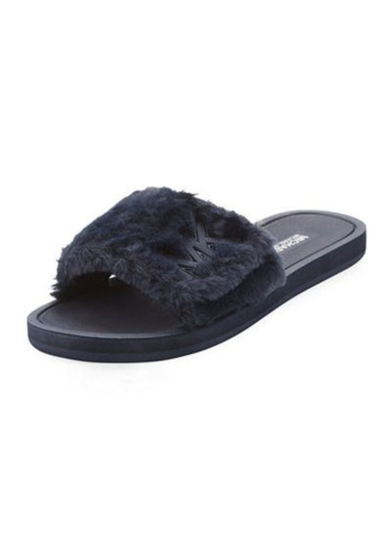 035778ec08f2 MICHAEL Michael Kors MICHAEL Michael Kors MK Faux-Fur Flat Slide ...