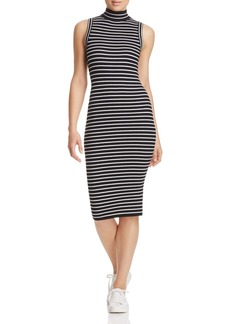 MICHAEL Michael Kors Mock Neck Ribbed Stripe Dress