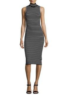 MICHAEL Michael Kors Mock-Neck Striped Ribbed-Knit Dress