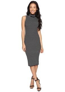 MICHAEL Michael Kors Neck Stripe Rib Dress