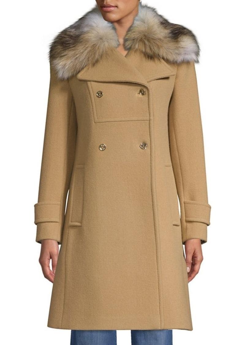 MICHAEL Michael Kors New Fitted Wool-Blend Faux Fur Coat