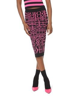 MICHAEL Michael Kors Newsprint Logo Pencil Skirt