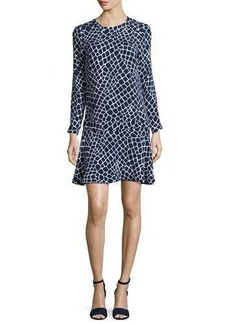 MICHAEL Michael Kors Nyla Long-Sleeve Croc-Print Flounce Dress