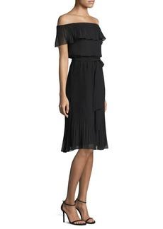MICHAEL MICHAEL KORS Off-the-Shoulder Ruffle-Pleat Dress