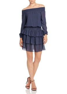 MICHAEL Michael Kors Off-The-Shoulder Dot Print Ruffle Dress