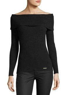 MICHAEL Michael Kors Off-the-Shoulder Ribbed Pullover Sweater