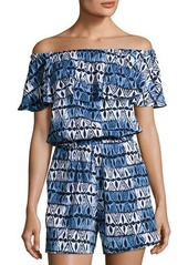 MICHAEL Michael Kors Off-the-Shoulder Ruffled Romper