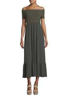 MICHAEL Michael Kors Off-the-Shoulder Smocked Bodice Long Dress