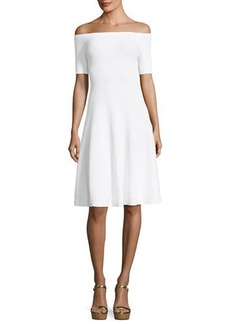 MICHAEL Michael Kors Off-the-Shoulder Textured-Knit Dress