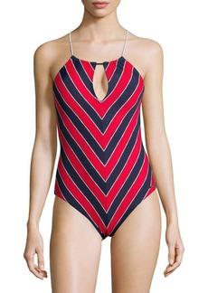 MICHAEL MICHAEL KORS One-Piece Chevron Keyhole Front Swimsuit